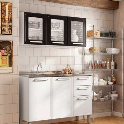 Cocina Integral Gourmet 1.20 Metros Con Lavaplatos Blanco/Negro