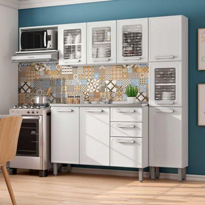 Cocina Integral Gourmet 2.20 Metros Con Lavaplatos Blanco