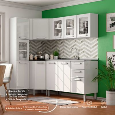 Cocina Integral Gourmet 1.88 x 1.08 Metros Muebles Blanco