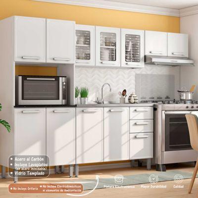 Cocina Integral Gourmet 2.80 Metros Con Lavaplatos Blanco