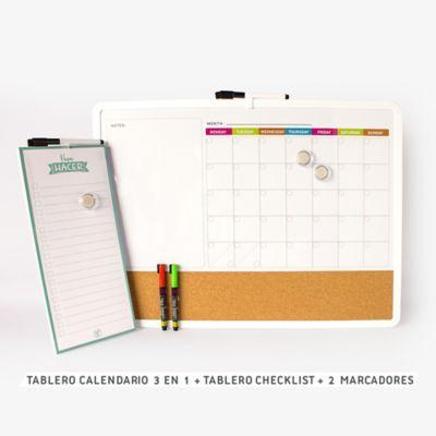 Tablero Calendario 3 en 1 + Tablero Checklist + 2 Marcadores
