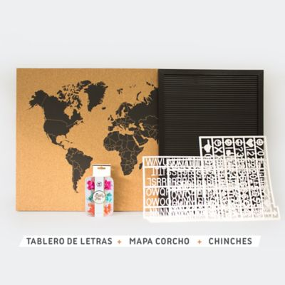 Tablero de Letras + Cuadro Mapa Corcho + Chinches