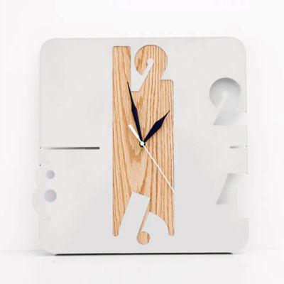 Reloj de Lámina 30x31x3 cm Blanco + Roble