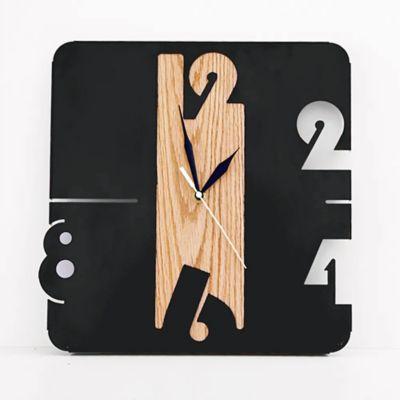 Reloj de Lámina 30x31x3 cm Negro + Roble