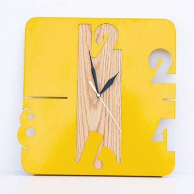 Reloj de Lámina 30x31x3 cm Amarilla + Roble