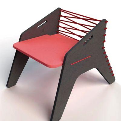 Silla Boomerang 41x55x44 Negro/Rojo