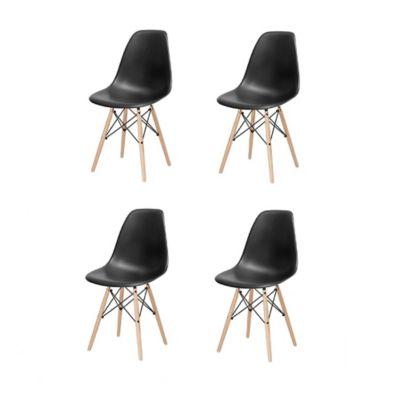 Combo x4 Sillas Eames para Comedor/Sala Negro