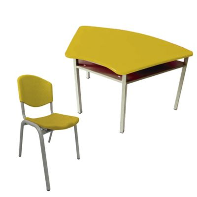 Pupitre Escolar Trapezo + Silla 40x96x61 Amarillo