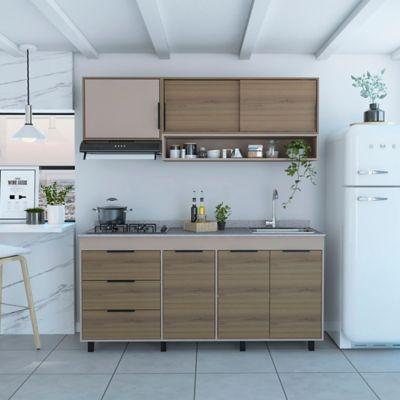 Cocina Integral Alameda 1.80 Metros Incluye Mesón Izquierdo - Derecho + Lavaplatos + Estufa 4 Puestos A Gas
