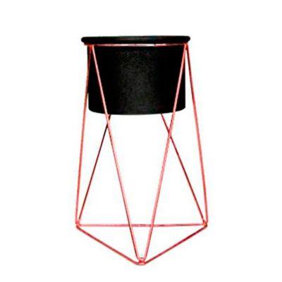Soporte Piramidal Piso Grande Cobre + Matera Negro