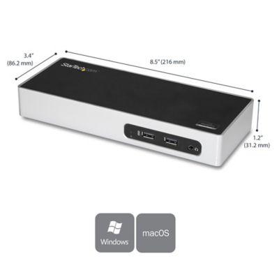 Dock Station USB 3.0 HDMI VGA para 2 Monitores Negro Plata