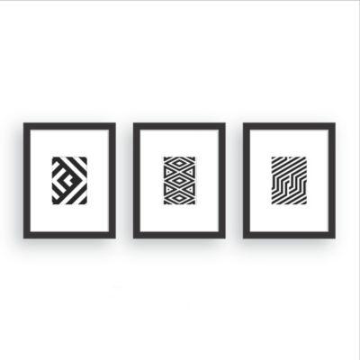 Set x3 Cuadros Geométricos 23x29 cm