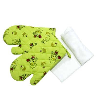 Set x3 Combo 2 Guantes + Limpion Verde Estampado