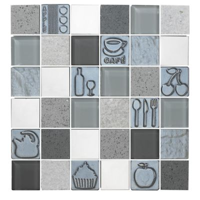 Mosaico Vidrio Acero Inoxidable 3D kitchgrey 30x30cm Gris