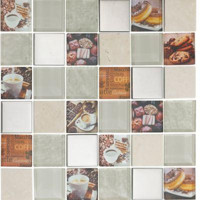 Mosaico Vidrio Marmol Acero Inoxidable Coffee 30x30cm Beige