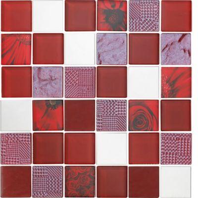 Mosaico Vidrio Acero Inoxidable Flowers 30x30cm Rojo