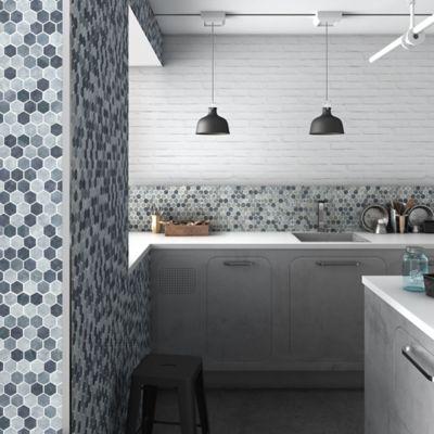 Mosaico Vidrio Stones 30.7x31.7cm Gris, Azul