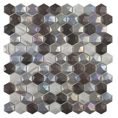 Mosaico Vidrio Elite Forest Mix 30.7x31.7cm Tonos de Grises