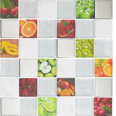 Mosaico Vidrio Marmol Acero Inoxidable Fruits 30x30cm Beige