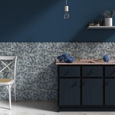 Mosaico Vidrio Stones 30.7x31.7cm Gris - Azul