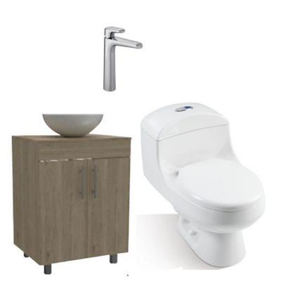 Combo Montecarlo Sorrento Incluye, Mueble A Piso 60 cm , Lavamanos, Sanitario Montecarlo Y Grifería
