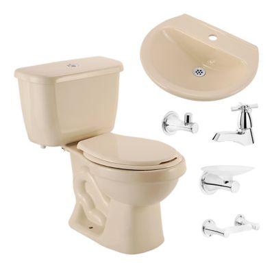 Combo Sanitario Acuacer Roble Bone 2 piezas, lavamanos, grifería sencilla y accesorios
