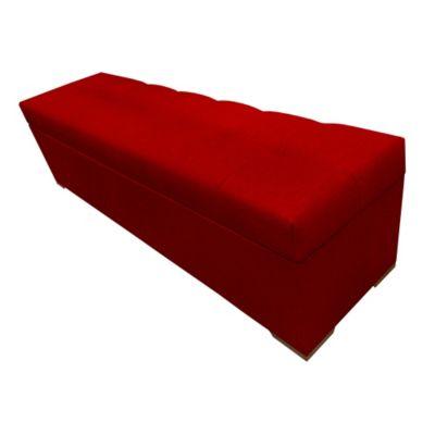 Pie de Cama Baúl Prisma 90x40x40 Ecocuero Rojo