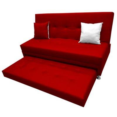 Sofá Cama Nido Confort 190x120 Piel Durazno Rojo