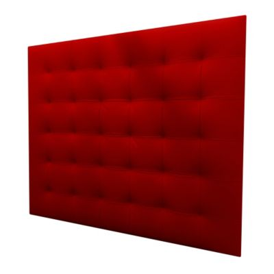 Cabecero Entero Sencillo 100x120 Squares Ecocuero Rojo