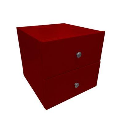 Mesa de Noche 2 Cajones 50x40x40 Ecocuero Rojo