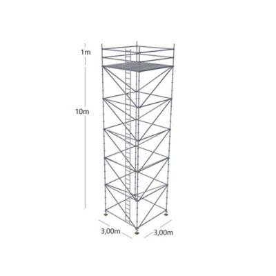 Torre 10 Mts + 1Mt Base de 3 x 3 Mts con Escaleras Exterior