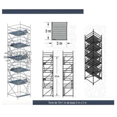 Torre 10 Mts + 1Mt Base 3 x 3 Mts Escaleras Interior