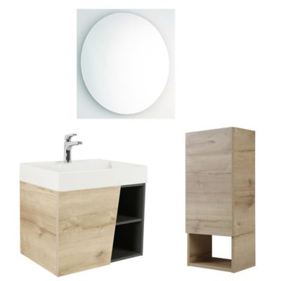 Combo Fussion : Mueble Fussion Plus 60 cm + Lavamanos Fussion + Gabinete Plus + Espejo Aro 60 cm + Grifería Draa