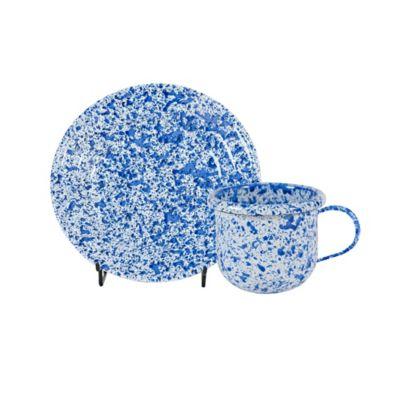 Set Café 4 Pocillos #7 y 4 Platos #14 Coral Azul