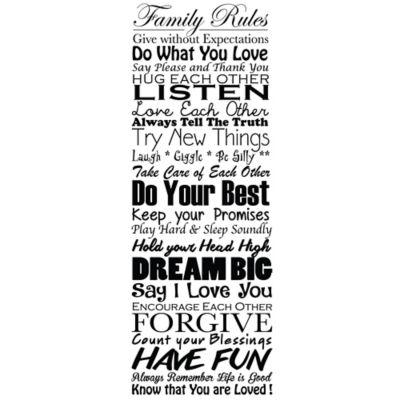 Vinilo Decorativo Family Rules 02 Negro