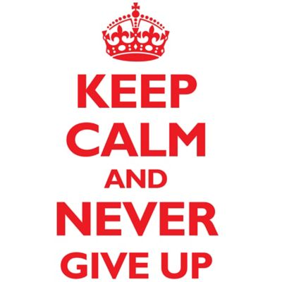 Vinilo Decorativo Keep Calm And Never Give Up Rojo