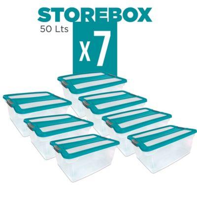 Set x7 Cajas Organizadoras Storebox 50 Lt Esmeralda