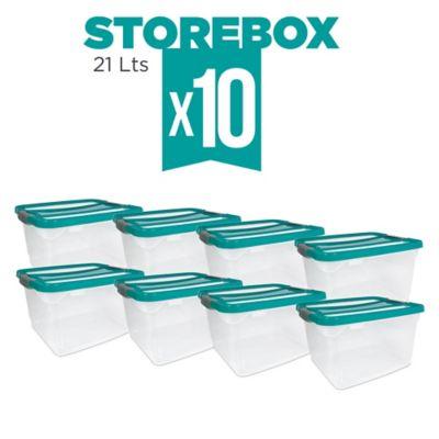 Set x10 Cajas Organizadoras Storebox 21 Lt Esmeralda