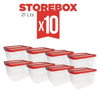 Set x10 Cajas Organizadoras Storebox 21 Lt Rojo