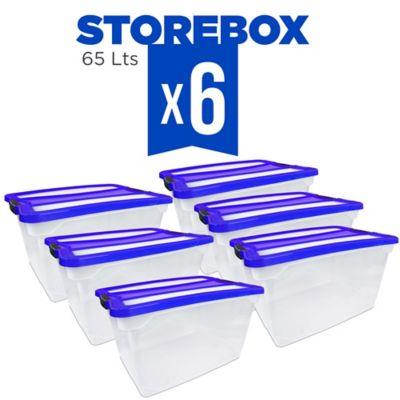 Set x6 Cajas Organizadoras Storebox 65 Lt Azul