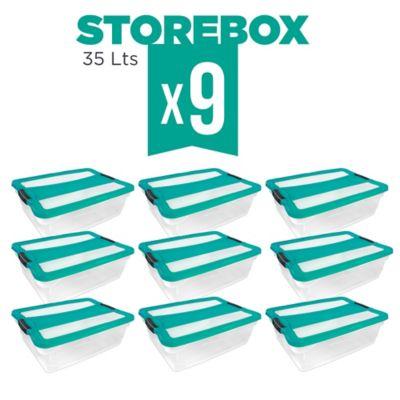 Set x9 Cajas Organizadoras Storebox 35 Lt Esmeralda