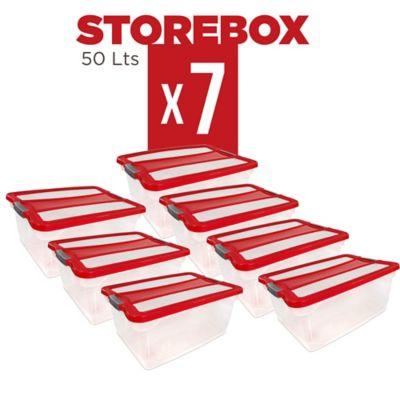 Set x7 Cajas Organizadoras Storebox 50 Lt Rojo