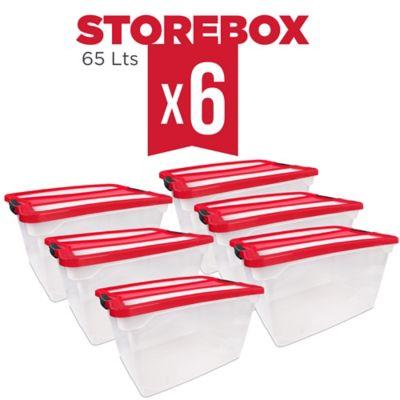 Set x6 Cajas Organizadoras Storebox 65 Lt Rojo