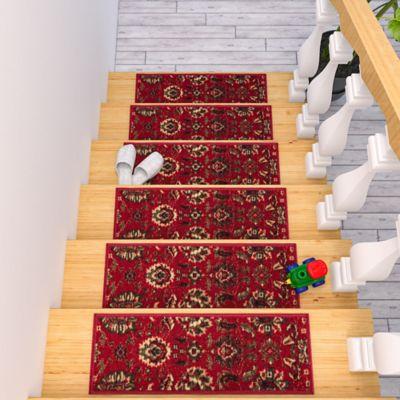 Juego X 7 Tapete para Escaleras Persa 66X21.5cm Rojo