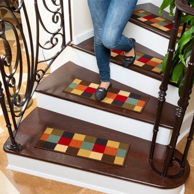 Juego X 13 Tapetes para Escaleras Cuadros Gris Negro y Blanco 66x 21.5 cm