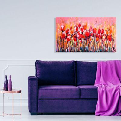 Lienzo Decorativo Flores 60x100x4 Rojo