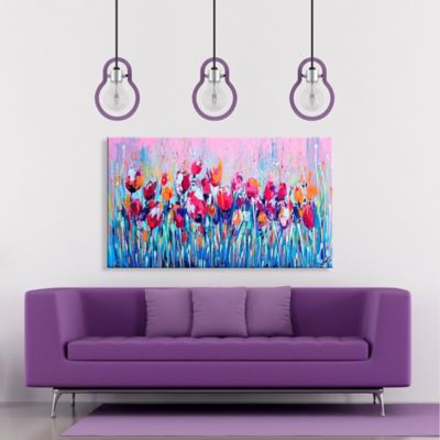 Lienzo Decorativo Flores 70x120x4 Azul