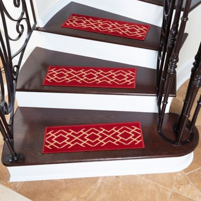 Juego X 7 Tapetes para Escaleras 66X21.5cm Rombos Vinotinto
