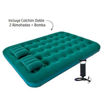 Combo Colchón Inflable Doble + 2 Almohadas + Bomba