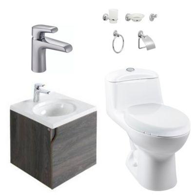 Combo Elipse Blanco : Sanitario Redondo Smart + Mueble Elipse + Lavamanos Elipse + Grifería Cascade + Accesorios Cascade